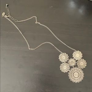 American Eagle silver doily necklace